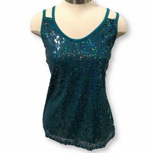 Blue Sequin Strappy Tank- Large